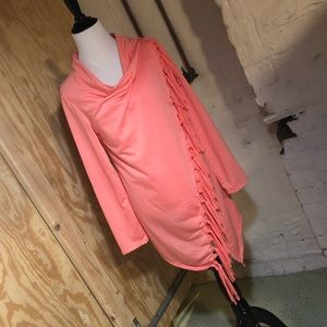 NWOT Coral Fringed Poncho with Button Closure
